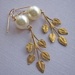 Lululuxe bridal earrings vintage leaves brass leaf drops 1