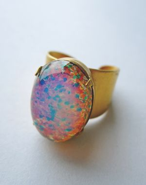 Adelia glass fire opal ring