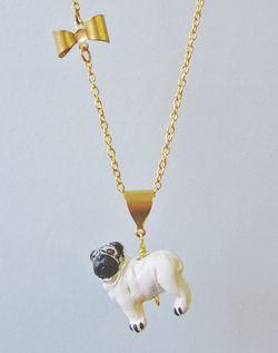 Pug necklace vintage