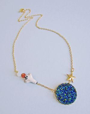 Druzy shuttle necklace 2