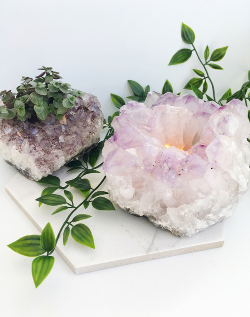 Amethyst tea light holder 4